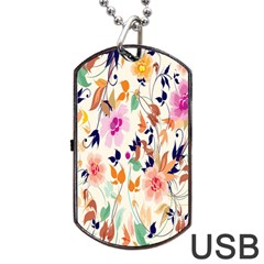 Vector Floral Art Dog Tag Usb Flash (one Side)