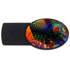 Colored Fractal Usb Flash Drive Oval (4 Gb) by BangZart
