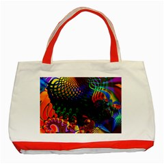 Colored Fractal Classic Tote Bag (red)