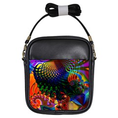 Colored Fractal Girls Sling Bags