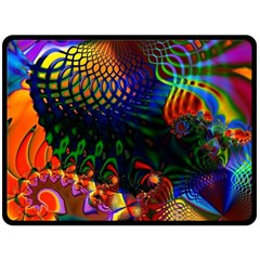 Colored Fractal Fleece Blanket (large)  by BangZart