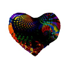 Colored Fractal Standard 16  Premium Heart Shape Cushions by BangZart