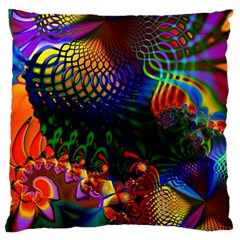Colored Fractal Standard Flano Cushion Case (one Side)