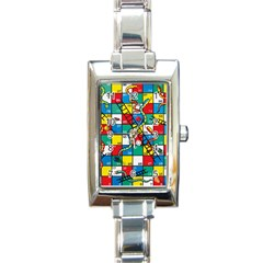 Snakes And Ladders Rectangle Italian Charm Watch