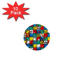 Snakes And Ladders 1  Mini Buttons (10 Pack)