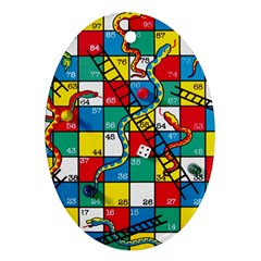 Snakes And Ladders Oval Ornament (two Sides)