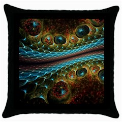 Fractal Snake Skin Throw Pillow Case (black)