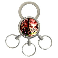 Fantasy Art Story Lodge Girl Rabbits Flowers 3 Ring Key Chains