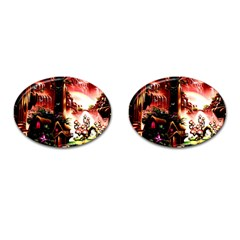 Fantasy Art Story Lodge Girl Rabbits Flowers Cufflinks (oval)