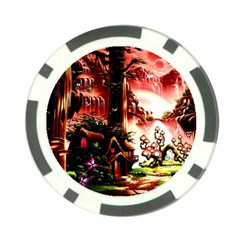 Fantasy Art Story Lodge Girl Rabbits Flowers Poker Chip Card Guard