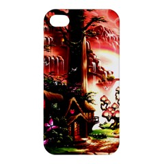 Fantasy Art Story Lodge Girl Rabbits Flowers Apple Iphone 4/4s Hardshell Case
