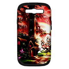 Fantasy Art Story Lodge Girl Rabbits Flowers Samsung Galaxy S Iii Hardshell Case (pc+silicone)