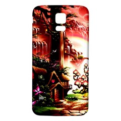 Fantasy Art Story Lodge Girl Rabbits Flowers Samsung Galaxy S5 Back Case (white)