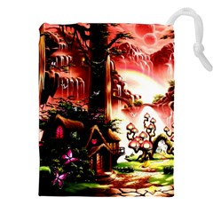 Fantasy Art Story Lodge Girl Rabbits Flowers Drawstring Pouches (xxl) by BangZart