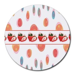 Strawberries Round Mousepads by SuperPatterns
