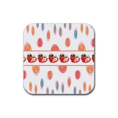 Strawberries Rubber Square Coaster (4 Pack)  by SuperPatterns