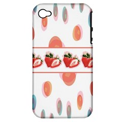Strawberries Apple Iphone 4/4s Hardshell Case (pc+silicone) by SuperPatterns