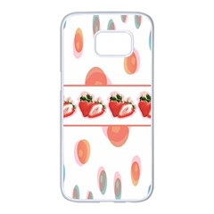 Strawberries Samsung Galaxy S7 Edge White Seamless Case by SuperPatterns