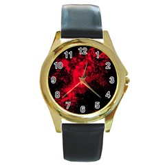 Red Smoke Round Gold Metal Watch by berwies