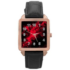 Red Smoke Rose Gold Leather Watch  by berwies