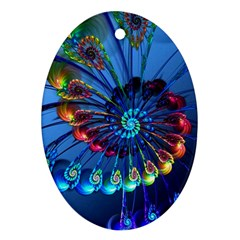 Top Peacock Feathers Oval Ornament (two Sides) by BangZart