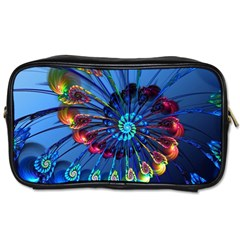 Top Peacock Feathers Toiletries Bags 2 Side
