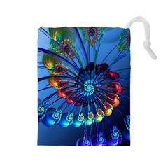 Top Peacock Feathers Drawstring Pouches (large)  by BangZart