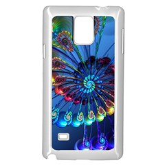Top Peacock Feathers Samsung Galaxy Note 4 Case (white) by BangZart
