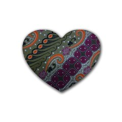 Batik Art Pattern  Heart Coaster (4 Pack)