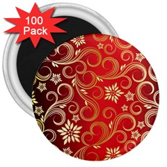 Golden Swirls Floral Pattern 3  Magnets (100 Pack)