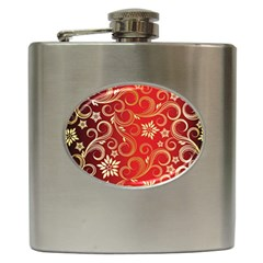 Golden Swirls Floral Pattern Hip Flask (6 Oz) by BangZart