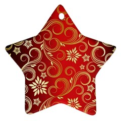 Golden Swirls Floral Pattern Star Ornament (two Sides)