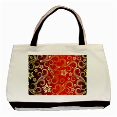Golden Swirls Floral Pattern Basic Tote Bag (two Sides)