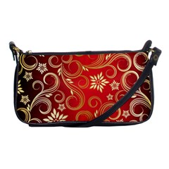 Golden Swirls Floral Pattern Shoulder Clutch Bags by BangZart