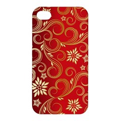 Golden Swirls Floral Pattern Apple Iphone 4/4s Hardshell Case