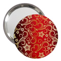 Golden Swirls Floral Pattern 3  Handbag Mirrors