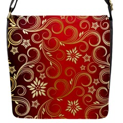 Golden Swirls Floral Pattern Flap Messenger Bag (s)