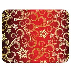 Golden Swirls Floral Pattern Double Sided Flano Blanket (medium)