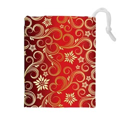 Golden Swirls Floral Pattern Drawstring Pouches (extra Large) by BangZart