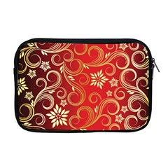 Golden Swirls Floral Pattern Apple Macbook Pro 17  Zipper Case