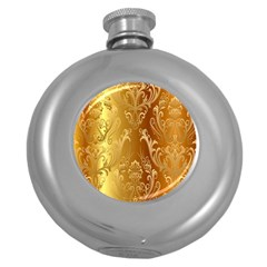 Golden Pattern Vintage Gradient Vector Round Hip Flask (5 Oz) by BangZart