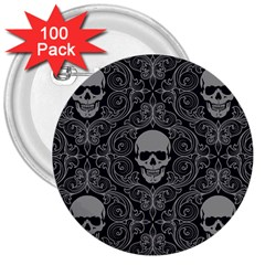 Dark Horror Skulls Pattern 3  Buttons (100 Pack)