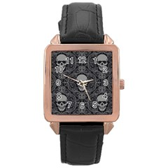 Dark Horror Skulls Pattern Rose Gold Leather Watch