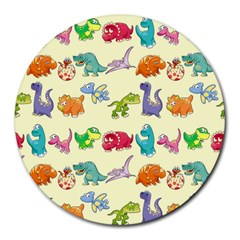 Group Of Funny Dinosaurs Graphic Round Mousepads by BangZart