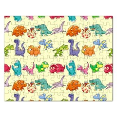 Group Of Funny Dinosaurs Graphic Rectangular Jigsaw Puzzl