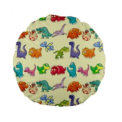 Group Of Funny Dinosaurs Graphic Standard 15  Premium Round Cushions