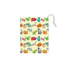 Group Of Funny Dinosaurs Graphic Drawstring Pouches (xs)