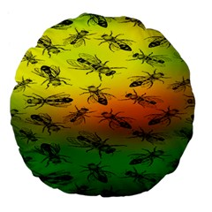 Insect Pattern Large 18  Premium Flano Round Cushions
