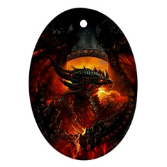 Dragon Legend Art Fire Digital Fantasy Ornament (oval)