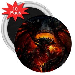 Dragon Legend Art Fire Digital Fantasy 3  Magnets (10 Pack)  by BangZart